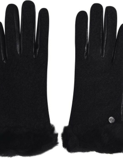 Ugg Fabric and Leather Shorty Gloves - Black BLK