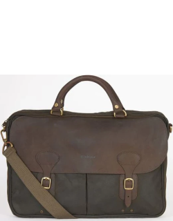 Barbour Wax Leather Briefcase - Olive