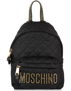 MOSCHINO Quilted Stud Backpack - Black/Gold