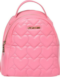 Love Moschino Heart Quilted Backpack - BubblG Pink 600