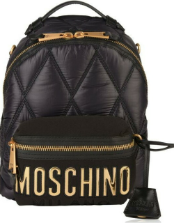 MOSCHINO Quilted Logo Backpack - Black/Gold