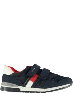 Tommy Hilfiger Logo Suede Hook and Loop Trainers - Blue 800