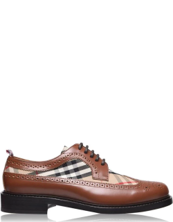 BURBERRY Brogue Detail Leather And Vintage Check Derby Shoes - Tan/Beige