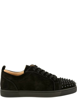 CHRISTIAN LOUBOUTIN Louis Junior Suede Spikes Orlato Trainers - Black Sd CM53