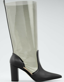 85mm Clear Leather Boots