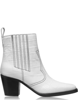 GANNI Western Ankle Boots - White