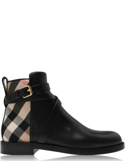 BURBERRY House Check And Leather Ankle Boots - Blk ArcB A7626