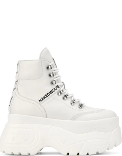 NAKED WOLFE Spike Leather Boots - White Leather