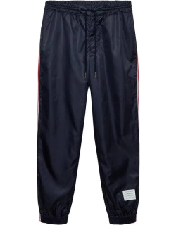 Thom Browne Tricolour Stripe Ripstop Track Pants - NAVY
