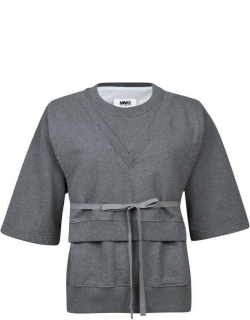 MM6 Short Sleeved Sweater Wi - GREY
