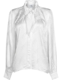 VETEMENTS All Over Logo Scarf Blouse - White 700W