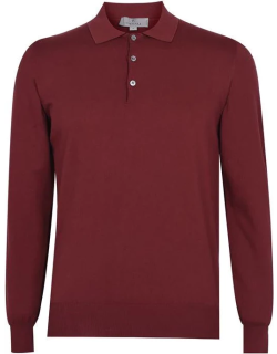 CANALI Long Sleeve Polo - Red 903