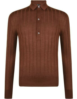 TOM FORD Knitted Long Sleeve Polo Shirt - Drk Brown M07