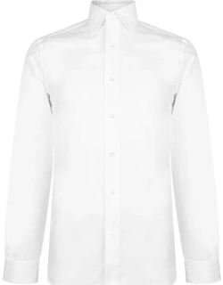 CANALI Twill Slim Fit Long Sleeve Shirt - White 01