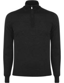 CANALI quarter Zip Knitted Jumper - Charcoal 101