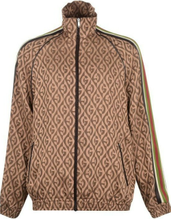 GUCCI Gg Leather Tape Tracksuit Top - Beige 2100