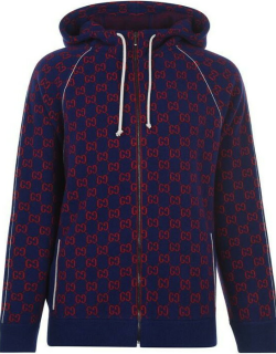 GUCCI Gg Woll Tracksuit Top - Navy/Red 4913