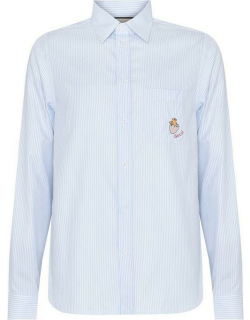 GUCCI Long Sleeve Striped Shirt With Embroidered Patch - Blue 4337