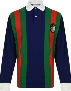 GUCCI Crest Rugby Long Sleeve Polo Shirt - Blu/Red/Grn