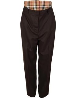 BURBERRY Vintage Check Panel Double Waist Wool Trousers - Coffee A7137