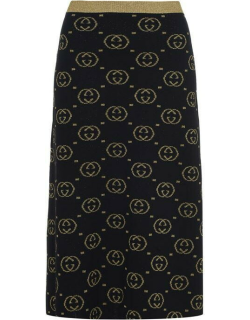 GUCCI Gg Lame Skirt - Blk/Gld 1815