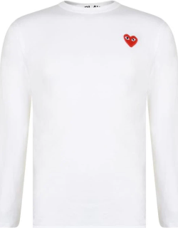 Comme Des Garcons Play Small Heart Long Sleeve t Shirt - White/Red