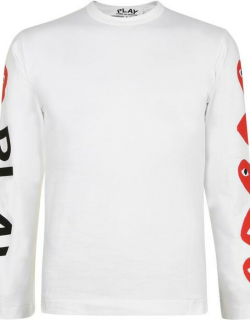 Comme Des Garcons Play Long Sleeve Logo t Shirt - White