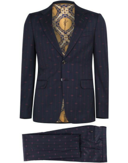 GUCCI All Over Gg Suit - Navy/Red 4668