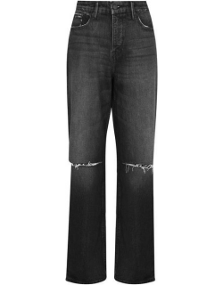GOOD AMERICAN Good 90s Knee Ripped Jeans - Black