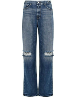 GOOD AMERICAN Good 90s Knee Ripped Jeans - Blue