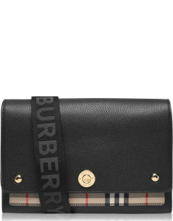 BURBERRY Leather And Vintage Check Note Crossbody Bag - Black A1189