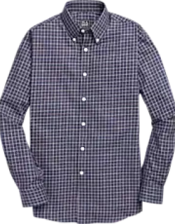 Travel Tech Traditional Fit Button-Down Check Men's Sportshirt CLEARANCE