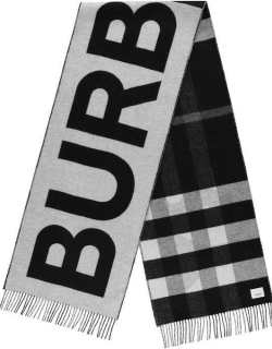 BURBERRY Reversible Check And Logo Cashmere Scarf - Blk/Wht A6590