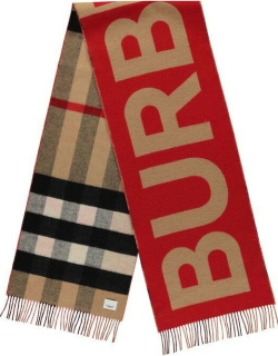 BURBERRY Reversible Check And Logo Cashmere Scarf - Beige/Red A7026