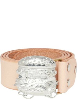 Human Made Burger Buckle Leather Belt - SILVER