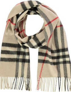BURBERRY Giant Icon Check Cashmere Scarf - Stone Chk A5129