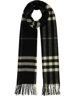 BURBERRY Giant Icon Check Cashmere Scarf - Black