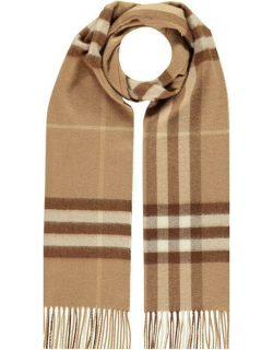 BURBERRY Giant Icon Check Cashmere Scarf - Mid Camel A1353