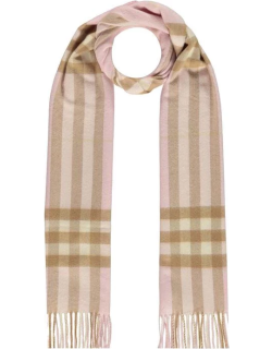 BURBERRY Giant Icon Check Cashmere Scarf - Alabaster A2888