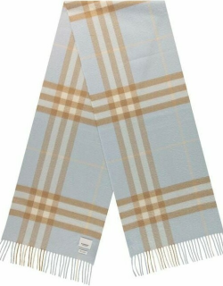 BURBERRY Giant Icon Check Cashmere Scarf - Pale Blue A7515