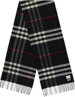 BURBERRY Giant Icon Check Cashmere Scarf - Navy A1222