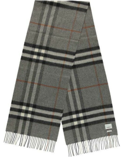 BURBERRY Giant Icon Check Cashmere Scarf - Grey A1345