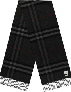 BURBERRY Giant Icon Check Cashmere Scarf - Charcoal A1208