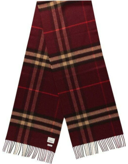 BURBERRY Giant Icon Check Cashmere Scarf - Burgundy A2172