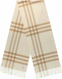 BURBERRY Giant Icon Check Cashmere Scarf - Wht/Alab A7602