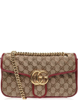 GUCCI Gg Marmont Small Shoulder Bag - Beige/Red 8561