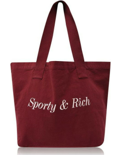 Sporty and Rich Classic Tote Bag - Burgundy/Gold