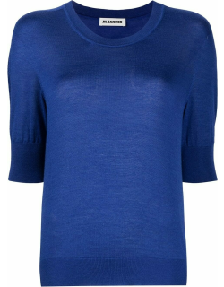 Short sleeve blue cashmere silk knitted top