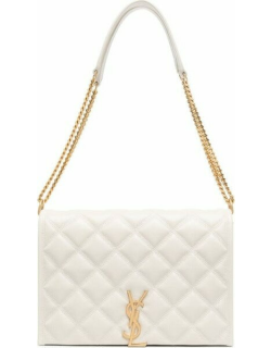 White Becky mini chain bag in carré-quilted lambskin