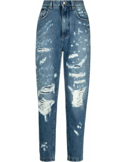 Blue Amber jeans with jacquard inserts